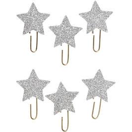 Papier-Klammern aus Metall silber mit Glitter Stern