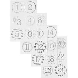 Adventskalender Zahlen Sticker weiß mit Silberfolie