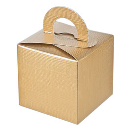 Geschenkschachtel Quadrat mit Henkel gold
