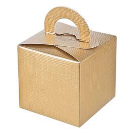 Geschenkschachtel Quadrat mit Henkel gold, 10 Stück