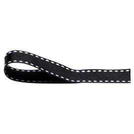 Ripsband schwarz mit weißer Ziernaht - 10 Meter