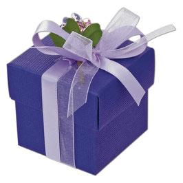 Geschenkschachtel lila Quadrat mit Deckel, 10 Stück