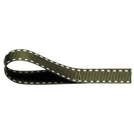 Ripsband moosgrün mit weißer Ziernaht - 10 Meter