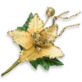 Deko Weihnachtszweig gold Poinsettia
