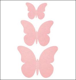 Schmetterlings-Set aus rosa Karton in 3 Größen