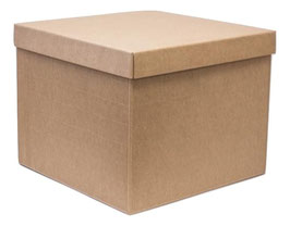 XL Geschenkbox mit Stülpdeckel Natur - 30x30x24 cm
