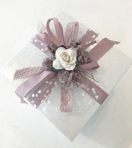 Verpackungsset Rose taupe/weiß