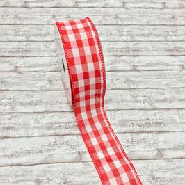 Zierband Draht Karo rot-weiß 40mm - 3 Meter