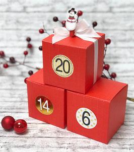 24 Adventskalender Schachteln Würfel rot