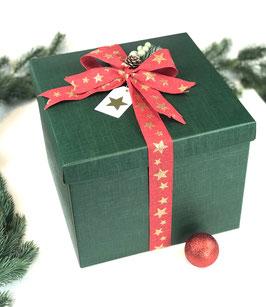 XL Geschenkbox grün mit Stülpdeckel - 30x30x24 cm