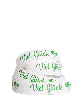 """Ripsband """"Viel Glück"""" weiß, 5 Meter"""