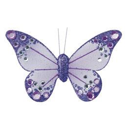 Organza Schmetterling mit Clip in lila