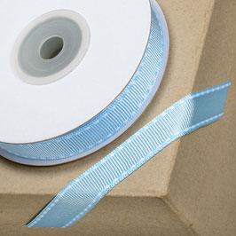 Ripsband hellblau mit weißer Ziernaht - 10 Meter