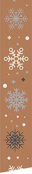 Satinband braun Motiv Schneeflocken - 3 Meter