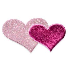 Glitzer Sticker Herzen pink/rosa, 12 St.