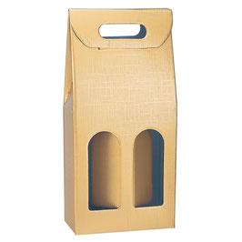 Flaschenverpackung für 2 Stück gold