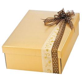Große Geschenkbox mit Deckel gold - 38x26x11 cm