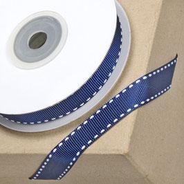 Ripsband navyblau mit weißer Ziernaht - 10 Meter