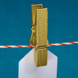 Holzklammer gold, 10 St.