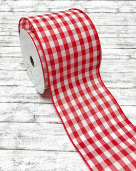 Zierband Draht Karo rot-weiß 100mm - 3 Meter