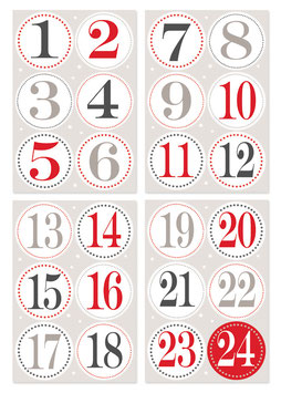 Adventskalender-Zahlen groß Sticker
