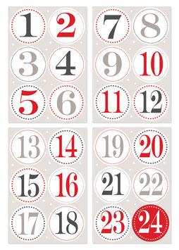 Aufkleber Adventskalender-Zahlen groß