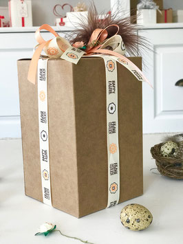 Geschenkbox Würfel hoch natur 5 Stück - 10x10x16 cm