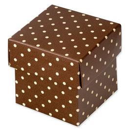 Geschenkbox Dots braun mit Deckel, 10 St.- 5x5x5 cm