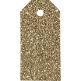 Geschenkanhänger Glitter gold - 15 St.
