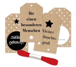 4 weihnachtliche Geschenk-Anhänger