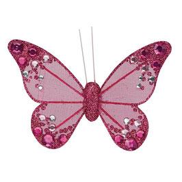 Organza Schmetterling mit Clip in pink