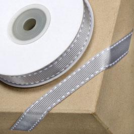 Ripsband silber-grau mit weißer Ziernaht - 10 Meter