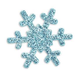 """12 Glitter Schneeflocken """"blau"""""""