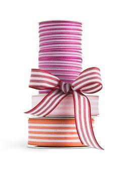 Geschenkband Streifen pink-weiß 40mm - 5 Meter