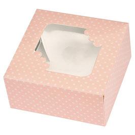 Cupcake Geschenkschachtel für 4 Stück rosa Dots