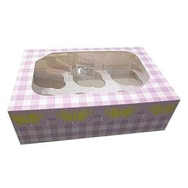 Cupcake Geschenkschachtel für 6 Stück lila Gingham Muster