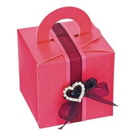 Geschenkbox mit Henkel pink, 10 St. - 6,5x6,5x6,5 cm