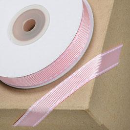 Ripsband rosa mit weißer Ziernaht - 10 Meter