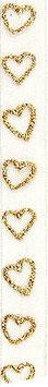 Chiffonband weiß mit goldenen Herzen (5 Meter)