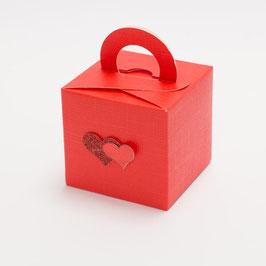 Geschenkschachtel Quadrat mit Henkel rot