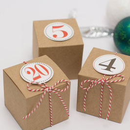 24 Adventskalender Schachteln Würfel Kraftkarton 6x6