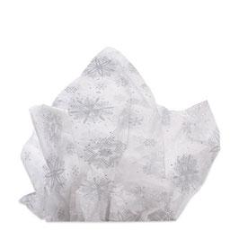 Seidenpapier weiß mit silbernen Schneeflocken - 5 Bogen