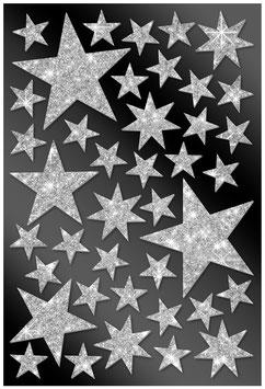 40 Glitzersticker Sterne silber