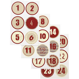 Adventskalender Zahlen Sticker rot-creme