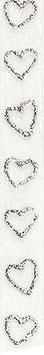 Chiffonband weiß mit silbernen Herzen - 5 Meter