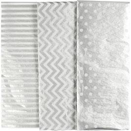 Seidenpapier silber mit Muster