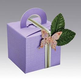 Geschenkschachtel fliederfarben Quadrat mit Henkel