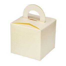 Geschenkschachtel Quadrat mit Henkel creme, 10 Stück
