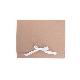 Geschenkbox mit Schleife braun/weiß 25x20x8 cm