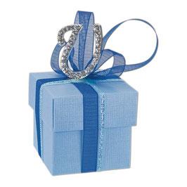 Geschenkschachtel blau Quadrat mit Deckel, 10 Stück
